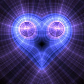 Blue fractal heart, digital artwork for creative graphic design — Stock Photo