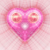 Elegant pink fractal heart, digital artwork for creative graphic design — 图库照片