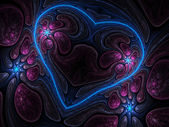 Colorful fractal heart, digital artwork for creative graphic design — Stock Photo