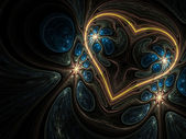 Gold fractal heart on dark background, digital artwork for creative graphic design — 图库照片