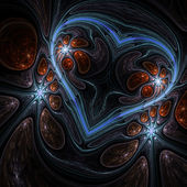 Dark fractal heart, digital artwork for creative graphic design — Stock Photo