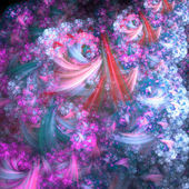 Blue and pink fractal clouds, digital artwork for creative graphic design — Stock Photo