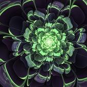 Glossy green fractal flower, digital artwork for creative graphic design — Photo