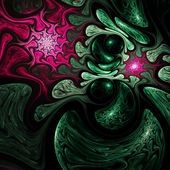 Dark red and green fractal swirl, digital artwork for creative graphic design — Stock Photo