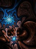 Brown and blue fractal spiral, digital artwork for creative graphic design — Stock Photo