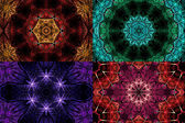 Set of rainbow colored fractal mandala shapes, digital artwork for creative graphic design — Stock Photo