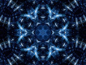 Dark blue fractal kaleidoscope made of flowers, digital artwork for creative graphic design — Stock Photo