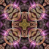 Colorful fractal mandala, digital artwork for creative graphic design — Photo