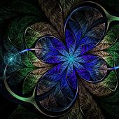 Dark blue fractal flower, digital artwork for creative graphic design — Stock Photo