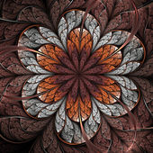 Brown and orange fractal flower, digital artwork for creative graphic design — Stock Photo