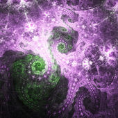 Shiny purple and green fractal spirals, digital artwork for creative graphic design — Stock Photo