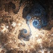 Glossy gold fractal spirals, digital artwork for creative graphic design — Photo