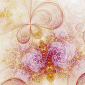 Swirly pink and gold fractal flowers, digital artwork for creative graphic design — Stock Photo