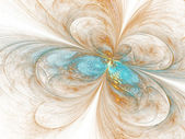 Light gold and blue fractal butterfly, digital artwork for creative graphic design — Stock Photo