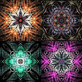 Set of colorful fractal mandala shapes, digital artwork for creative graphic design — Stock Photo