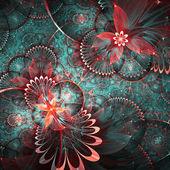 Kleurrijke fractal bloemmotief, digitale kunst voor creatieve grafisch ontwerp — Stockfoto