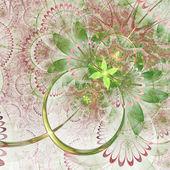 淡绿色的分形花,数字为图形创意设计图稿 — 图库照片