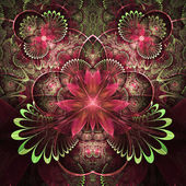 Red and green fractal flowers, digital artwork for creative graphic design — Foto Stock
