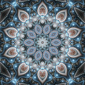 Winter themed fractal mandala, digital artwork for creative graphic design — Stock Photo