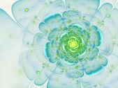 Light green and blue fractal flower, digital artwork for creative graphic design — Stock Photo