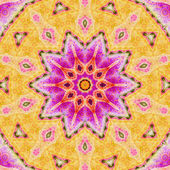 Pink and yellow fractal mandala, digital artwork for creative graphic design — Stock fotografie