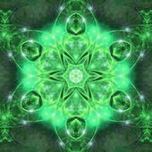 Glittering green fractal mandala, digital artwork for creative graphic design — Стоковое фото