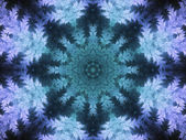 Winter themed fractal kaleidoscope, digital artwork for creative graphic design — Стоковое фото