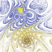 Yellow and blue fractal spirals, digital artwork for creative graphic design — Стоковое фото