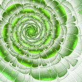 Green fractal flower with stars, digital artwork for creative graphic design — Photo