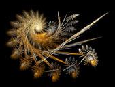 Golden fractal spiral, digital artwork for creative graphic design — Stock fotografie