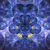 Tmavě modrá fraktální květina, digitální kresba pro kreativní grafický design — Stock fotografie