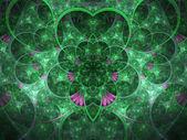 Zelený tmavý fraktální květina, digitální kresba pro kreativní grafický design — Stock fotografie