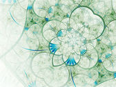 Light green and blue fractal flower, digital artwork for creative graphic design — Zdjęcie stockowe