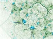 Light green and blue fractal flower, digital artwork for creative graphic design — Stock fotografie