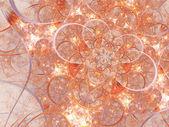 Zlatá fraktální květinovým vzorem, digitální kresba pro kreativní grafický design — Stock fotografie