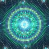 зеленый и синий фрактал мандала, цифровые изображения для творческого графического дизайна — Стоковое фото