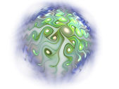 Green and blue fractal planet, digital artwork for creative graphic design — Zdjęcie stockowe