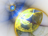 Yellow and blue fractal spheres, digital artwork for creative graphic design — Foto de Stock