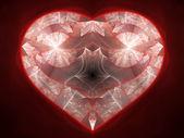 Red fractal heart, love motive, digital artwork for creative graphic design — Stock Photo