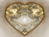 Gold glowing fractal heart, digital artwork for creative graphic design — Stock Photo