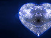 Blue fractal heart, valentine's day motive, digital artwork for creative graphic design — Stock Photo