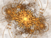 Gold fractal time machine, digital artwork for creative graphic design — Stock Photo