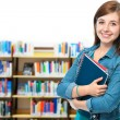 Foto Stock: Student at campus library