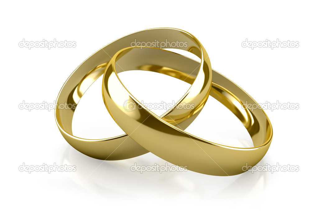 Couple of gold wedding rings on white background — Stock Photo #12571273