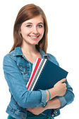 Jeune fille étudiante avec des livres — Photo