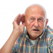 Senior man hard of hearing — Stock Photo
