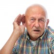 Senior man hard of hearing - Stock Photo