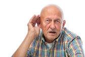 Senior man hard of hearing — Stockfoto