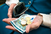Senior woman counting money — Foto Stock