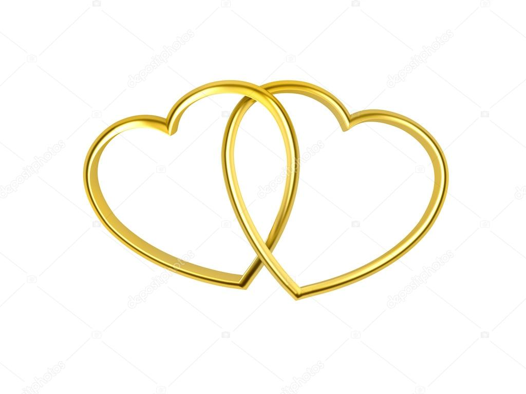3D heart shaped golden rings on white background — Stock Photo #17371355